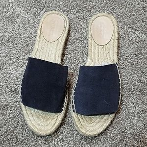 J.Crew Sandals Navy Suede Strap Tan Woven Sole